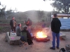 Breakfast around the fire at Willow Springs
