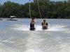 Rachael & Jenny knee boarding